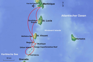 Caribbean map: Martinique, St. Lucia, St. Vincent, Grenadines, Mustique, Tobago Cays – Sailing-Classics