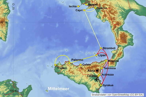 Map sailing destination - Sicily and the Aeolian Islands
