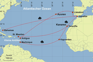 Map - sailing destination Atlantic Ocean