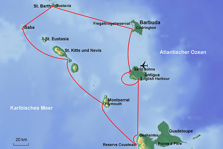 Karibik-Karte: Antigua – Barbuda – St. Barth – Saba – St.Kitts/Nevis – Montserrat – Guadeloupe – Antigua (Leeward-Islands)