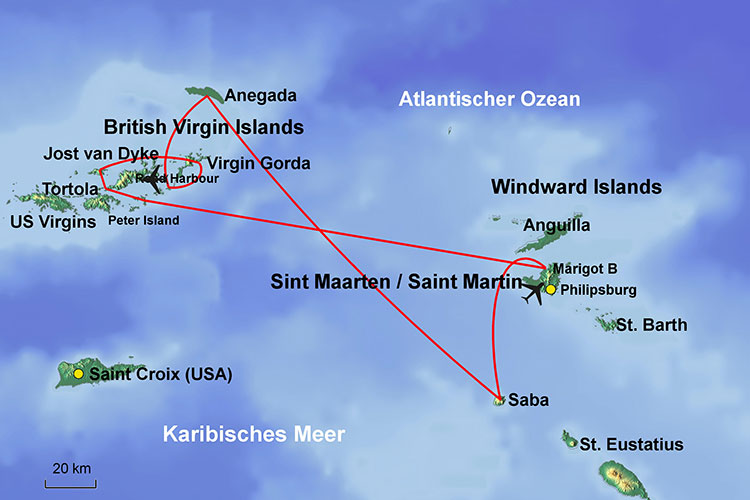 Caribbean map: Sint Maarten/Saint Martin/St. Martin (Windward Islands) – British Virgin Islands (BVI) – Sailing-Classics