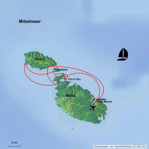 Map of Malta, Gozo and Comino (Mediterranean Sea) – Sailing-Classics