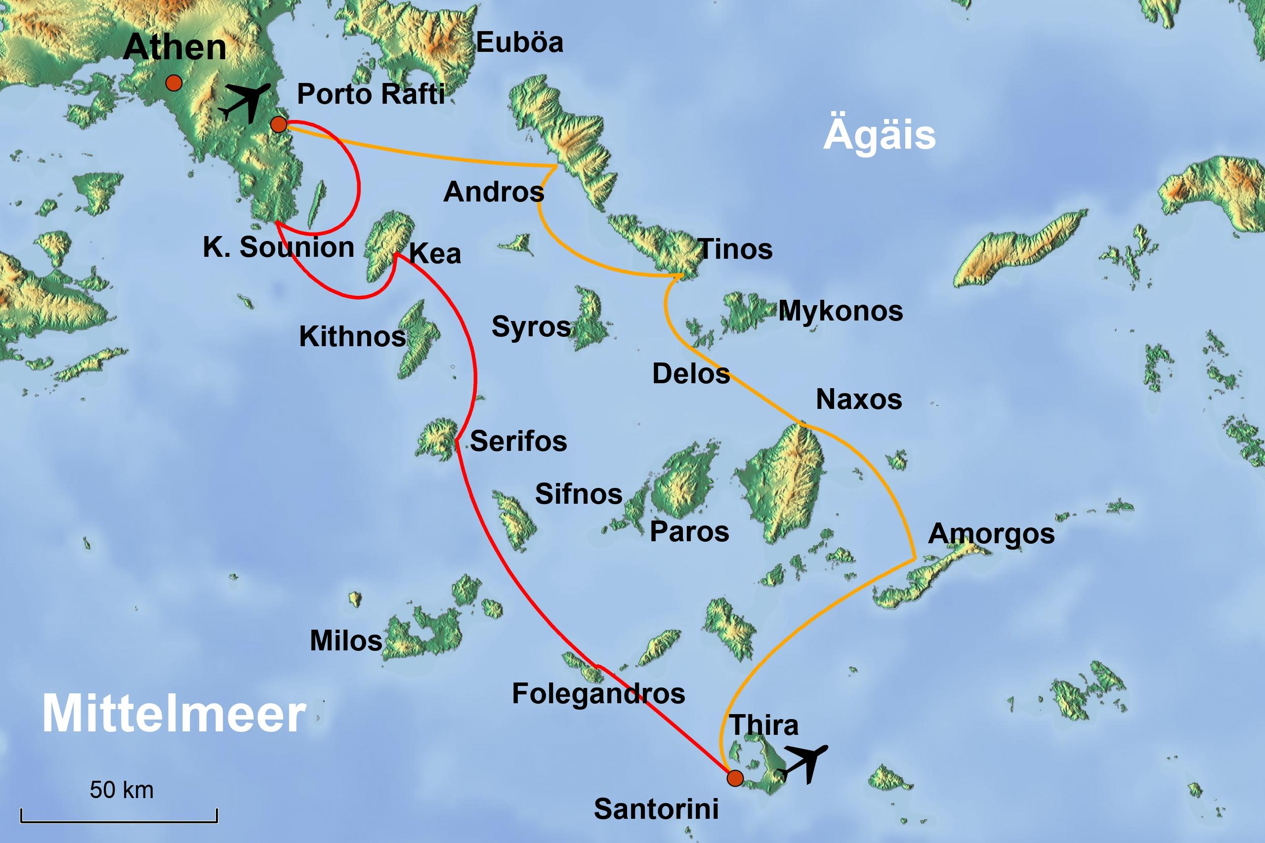Kykladen Karte.Mittelmeer Segeltörns Segelreisen Segelurlaub Griechenland